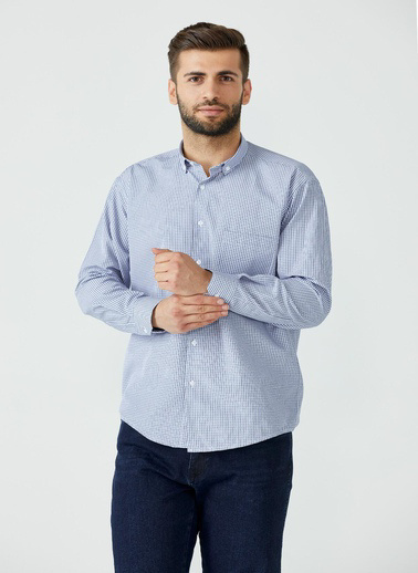 Sementa Erkek Kareli Cepli Gömlek - Mavi Mavi